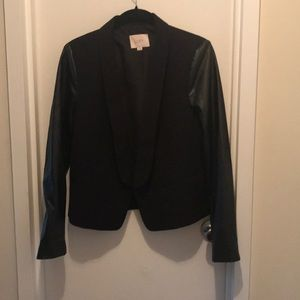 "LOFT Blazer with ""Leather"" Sleeves"